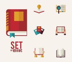 pacote de sete livros de textos, ícones e letras de materiais educacionais vetor