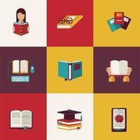 pacote de nove livros de texto ícones de materiais educacionais vetor
