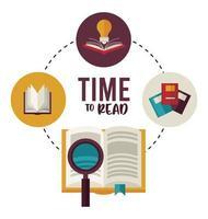 livro de texto com lupa e material educacional vetor