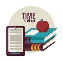 livros didáticos materiais educativos com apple e tablet vetor