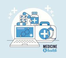 laptop com estrutura molecular e ícones médicos vetor