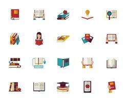 pacote de vinte livros de texto ícones de materiais educacionais vetor