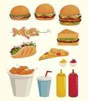pacote de deliciosos ícones de fast food vetor