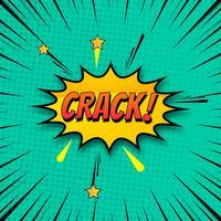 Fundo de crack no vetor colorido de arte pop de estilo cômico