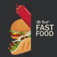 Hambúrguer e burrito com ketchup delicioso ícone de fast food vetor