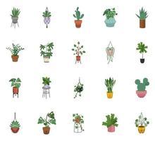 feixe de vinte plantas caseiras decoradas com vasos de cerâmica vetor