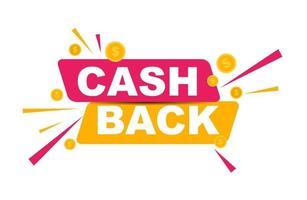 pôster de cashback de dinheiro com moedas de dólar de ouro vetor