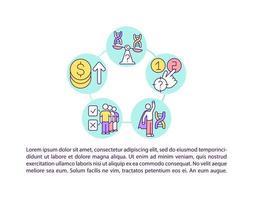 questões éticas de ícones de linha de conceito de terapia genética com texto vetor