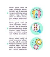 ícones de linha de conceito de história familiar de condições genéticas com texto vetor