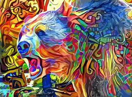 pintura abstrata de urso pardo vetor