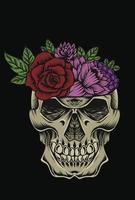 ilustração crânio flor arte design vetor