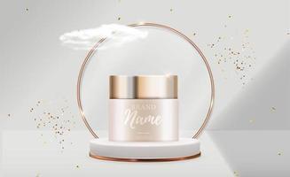 Produto cosmético de beleza natural realista 3D para cuidados com o rosto ou corpo em fundo brilhante bokeh vetor