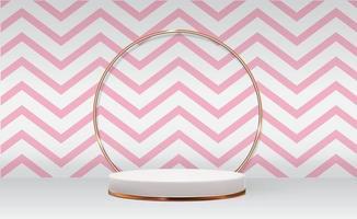 fundo de pedestal 3d branco com moldura de anel de vidro dourado folhas de palmeira realistas para apresentação de produtos cosméticos revista de moda vetor