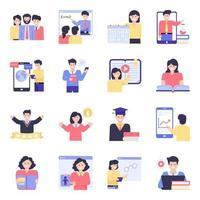 conjunto de ícones de educação online vetor