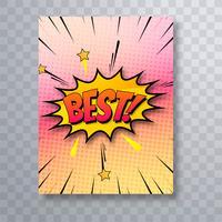 Pop art melhor texto colorido em quadrinhos brochura modelo vector