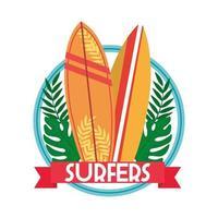 surfistas patch de pranchas de surf vetor