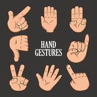 gesto de línguas de mão vetor