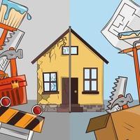 desenho animado de reforma de casa vetor