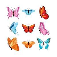 várias borboletas em aquarela vetor