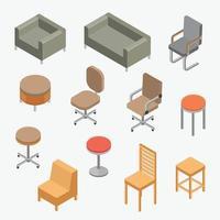 vetor definido cadeiras objeto isométrico