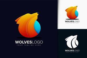 design do logotipo dos lobos com gradiente vetor