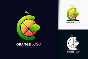 letra C e logotipo laranja com gradiente vetor