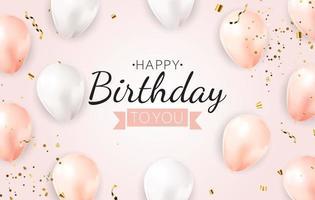 feliz festa aniversário fundo com balões realistas vetor
