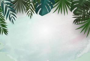 fundo natural com palmeira tropical e folhas de monstera vetor