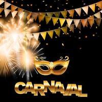 banner carnaval dourado vetor
