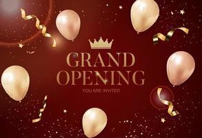 cartão de fundo de parabéns grande inauguração com fita e confete vetor
