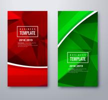 Bandeiras coloridas elegantes definir design de modelo de folheto de polígono vetor