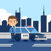 Vetor de desenhos animados de oficial de polícia
