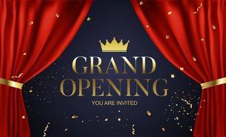 cartão de fundo de felicitações de grande inauguração com fita vermelha e confete vetor