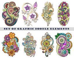 conjunto de elemento de doodle mehndi paisley de henna vetor
