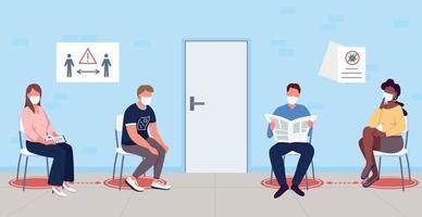 pacientes à espera de vacina de coronavírus ilustração vetorial de cor lisa vetor