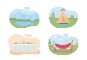 planejamento de férias de verão conjunto de banner web 2d vetor