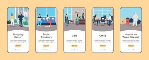 novo modelo de vetor plano de tela de aplicativo móvel normal para espaços públicos