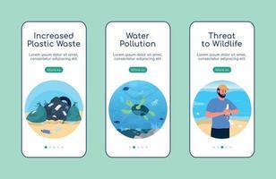 poluição ambiental integração modelo de vetor plano tela de aplicativo móvel