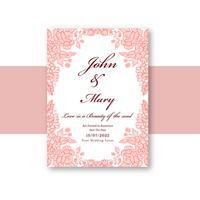 Vetor de design floral de modelo de cartão de convite de casamento