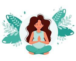 mulher grávida meditando na pose de lótus gravidez saúde vetor