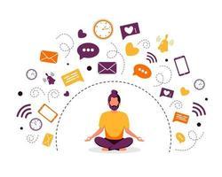 homem de desintoxicação e meditação digital meditando na posição de lótus vetor