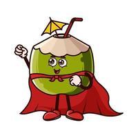 personagem de coco fofinho com capa de super-herói vetor
