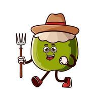 Personagem de fazendeiro de abacaxi fofo com forcado vetor