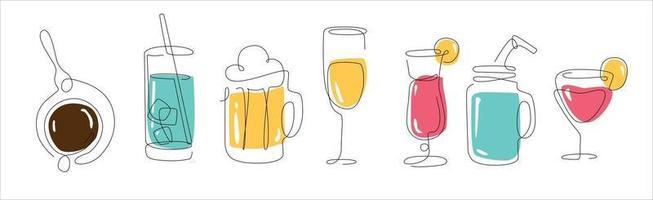 arte de linha definida com bebidas cerveja uma linha café e água linha contínua smoothy e outro contorno de bebida vetor