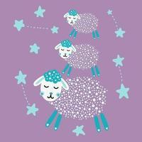 ovelha fofa com estrelas vetor