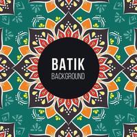 fundo de padrão de batique indonésio verde escuro e marrom vetor