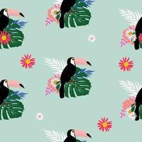 pássaro tucano tropical e folha de palmeira design de fundo padrão sem emenda vetor