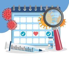 seringa calendário de vacina vetor