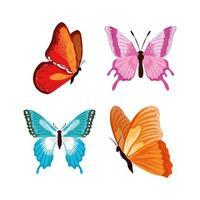 borboletas desenhadas à mão vetor