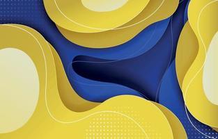 fundo plano orgânico azul e amarelo vetor